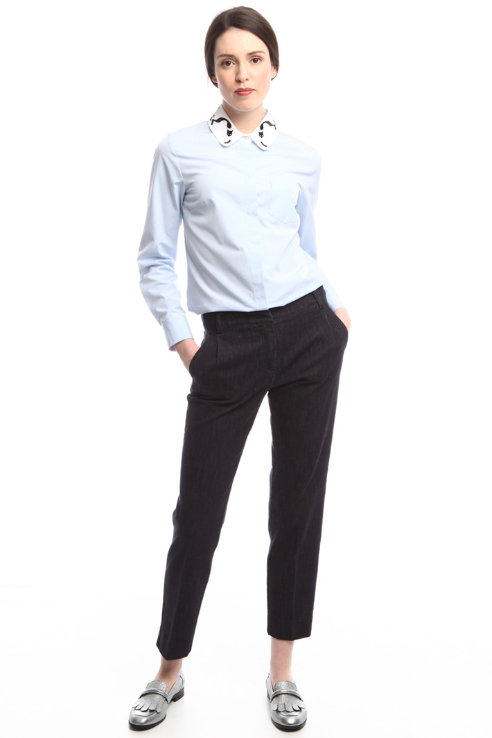 Camicia con colletto ricamato Diffusione Tessile