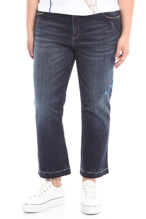 Cropped jeans with embroidery Diffusione Tessile