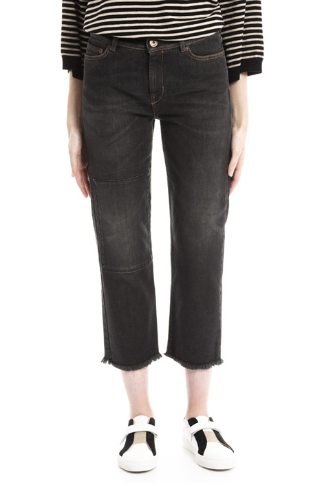 Cropped jeans with patch Diffusione Tessile