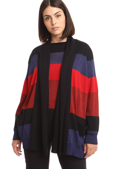 Cardigan colorblock a righe Diffusione Tessile