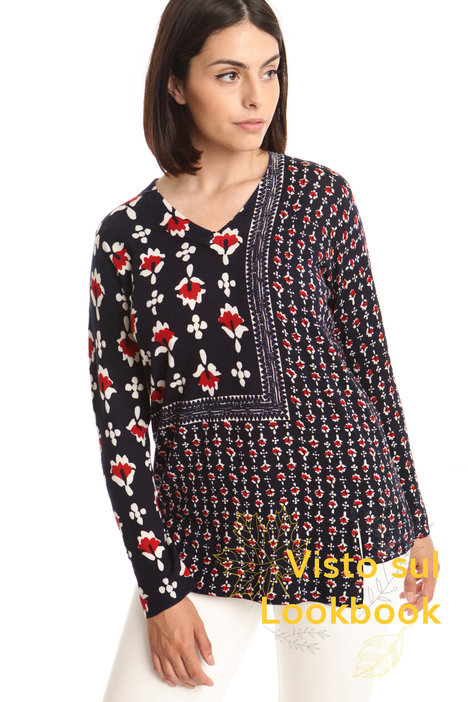 Maglia in lana con scollo a V Diffusione Tessile