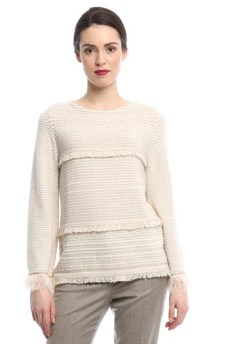 Maglia con frange in pura lana Diffusione Tessile