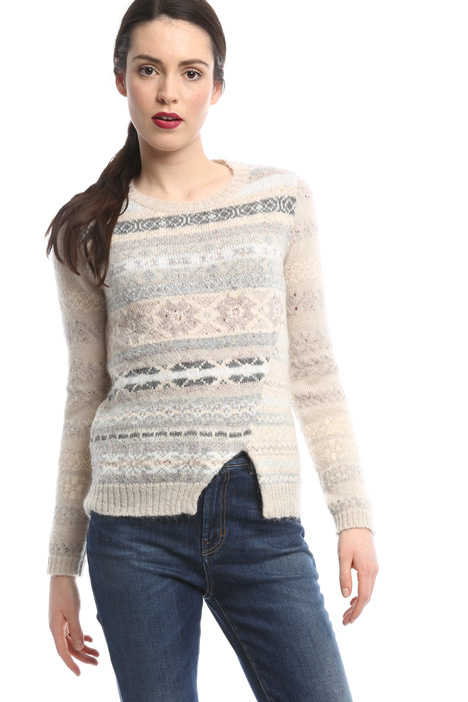 Knit pattern sweater with slit Diffusione Tessile