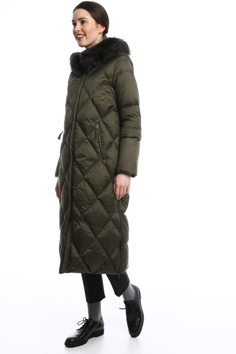 Long hooded down coat Diffusione Tessile