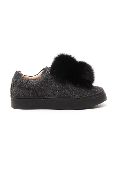 Wool sneaker with pon-pon Diffusione Tessile
