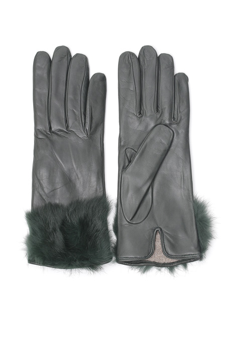 Fur trimmed gloves Intrend