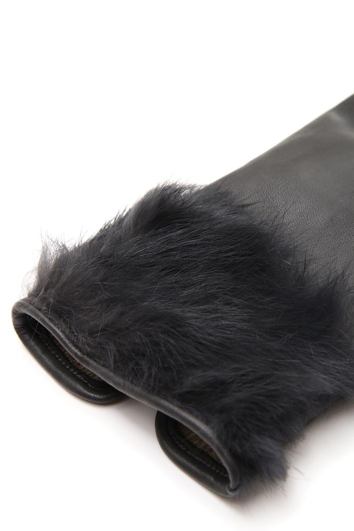 Guanti con bordo in pelliccia Diffusione Tessile