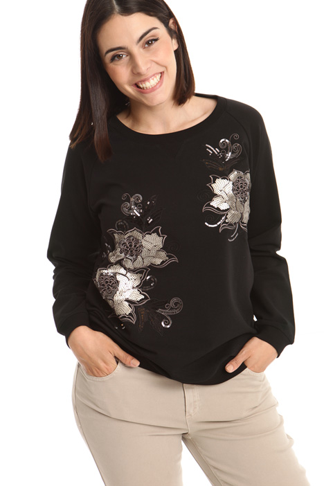 Sequin embroidered sweatshirt Intrend