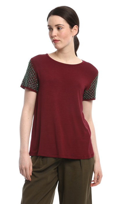 Embroidered sleeve T-shirt Diffusione Tessile