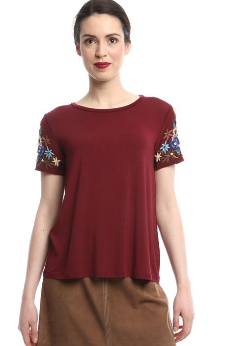 T-shirt con maniche ricamate Diffusione Tessile