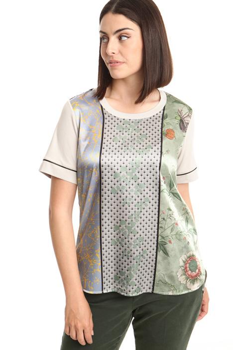 T-shirt con pannello in raso Diffusione Tessile
