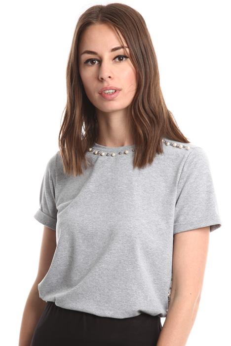 T-shirt con perline e strass Diffusione Tessile