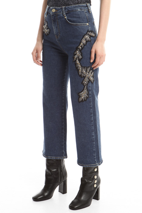 Jeans with bijou embroidery Diffusione Tessile