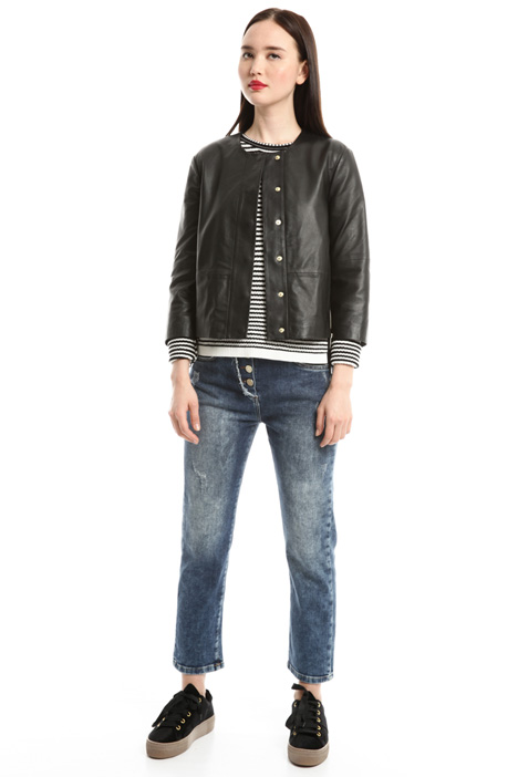Jersey and leather jacket Diffusione Tessile