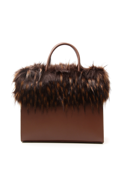Fur-effect trimmed bag Diffusione Tessile