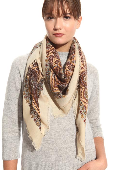 Fringed print scarf Diffusione Tessile
