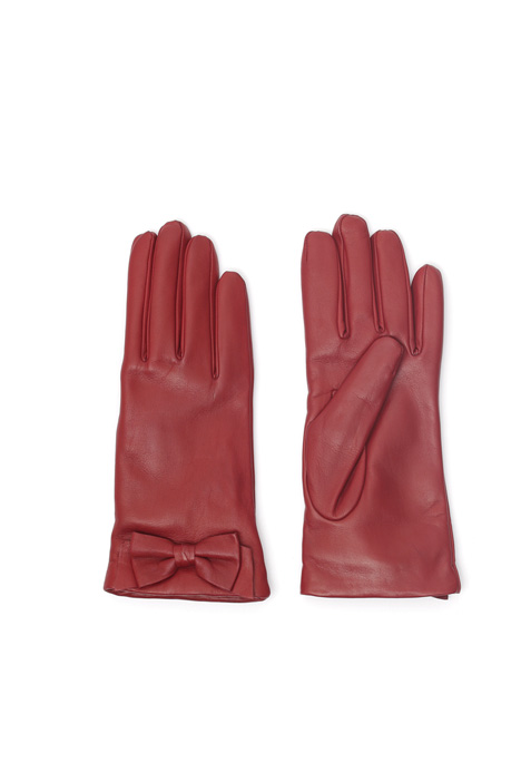 Leather gloves with bow Intrend