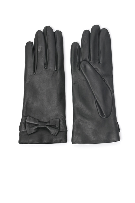Leather gloves with bow Diffusione Tessile