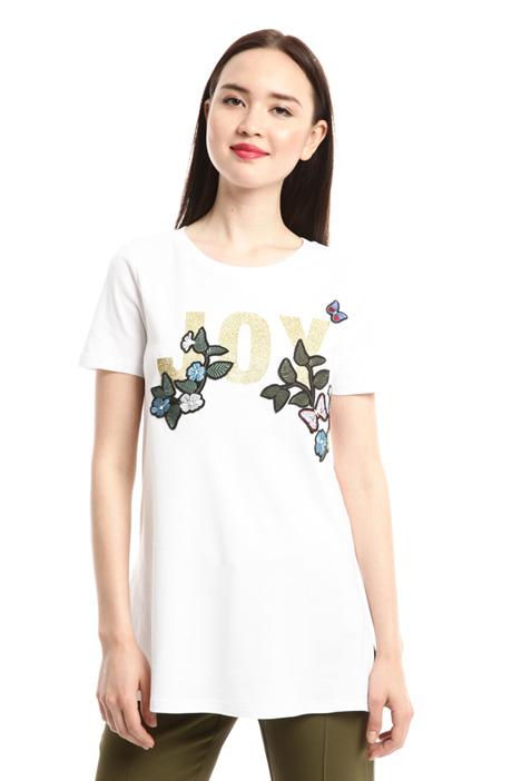 T-shirt con ricamo e stampa Diffusione Tessile
