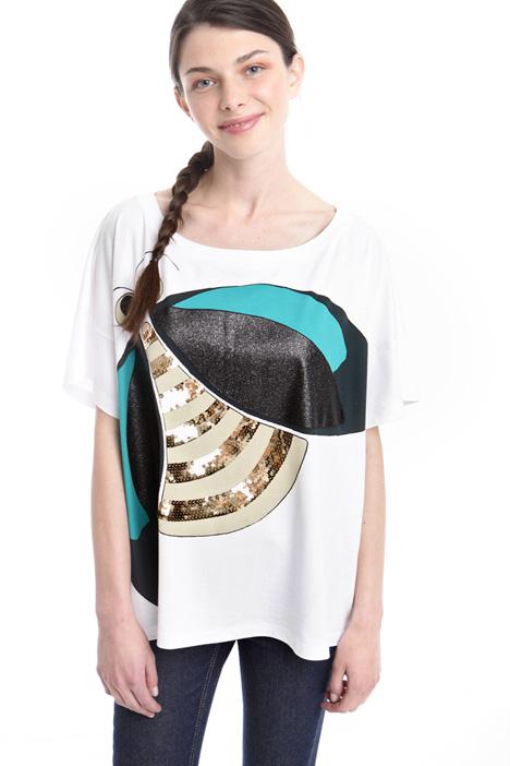 T-shirt boxy con fantasia Diffusione Tessile