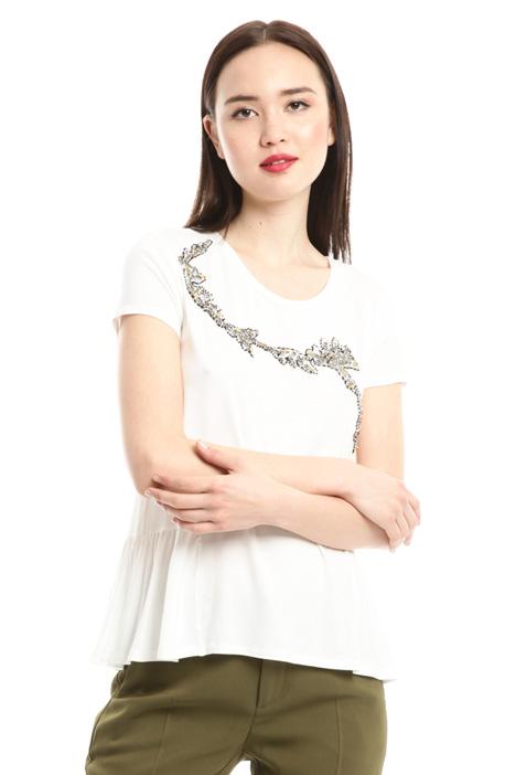 T-shirt con strass e perline Diffusione Tessile
