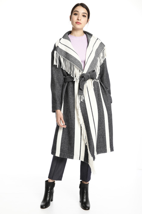 Fringed wool coat Intrend
