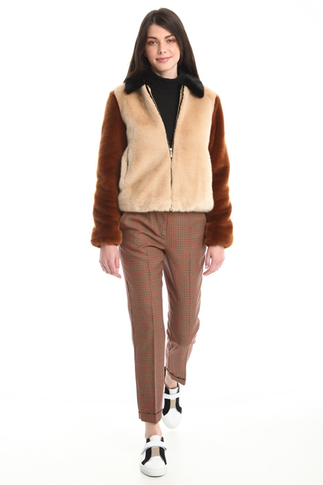 Colorblock fur bomber jacket Intrend