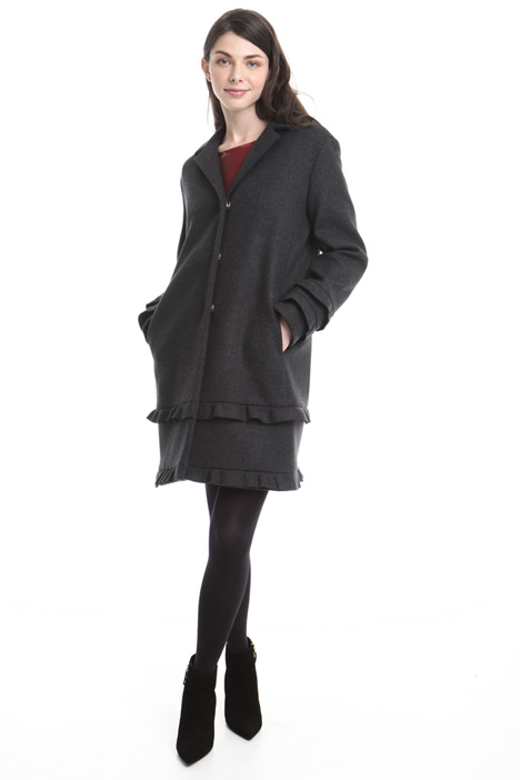 Flounced felted wool coat Diffusione Tessile
