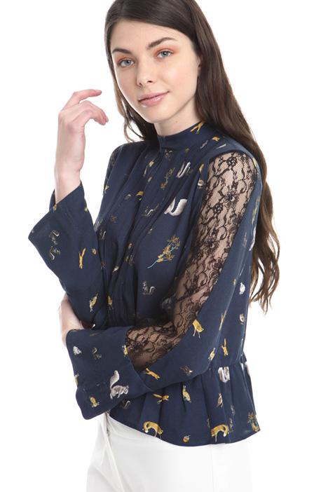 Camicia con inserto in pizzo Diffusione Tessile