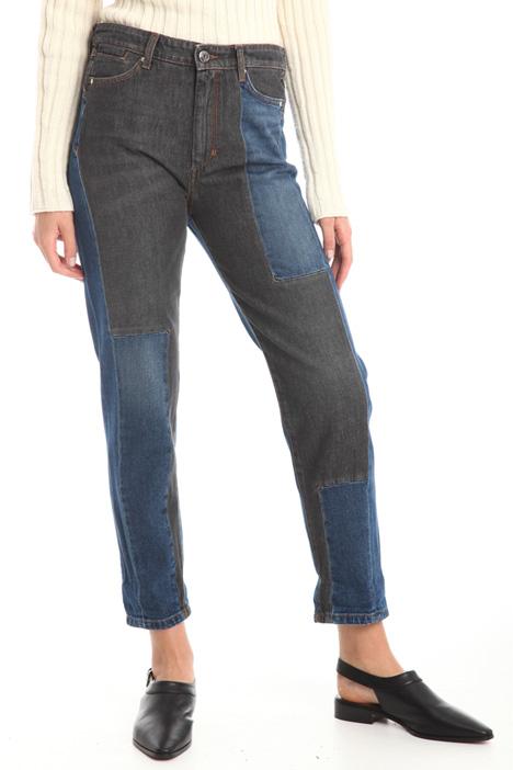 Jeans con patch bicolore Diffusione Tessile