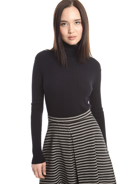 Rib worked turtleneck sweater Diffusione Tessile