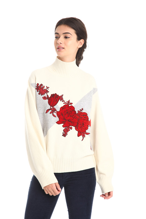 Embroidered high-neck sweater  Diffusione Tessile