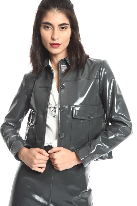 Short leather jacket  Intrend