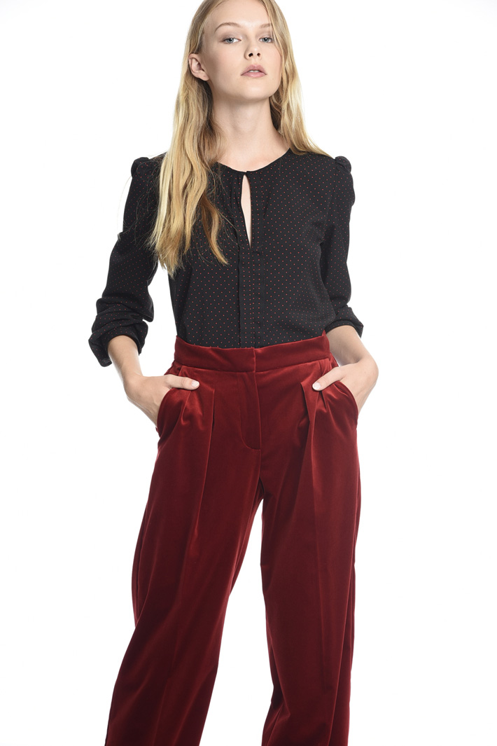 Pantaloni in velluto liscio Diffusione Tessile