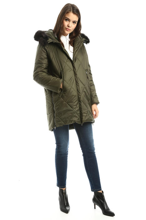 Padded coat with fur-trim Diffusione Tessile