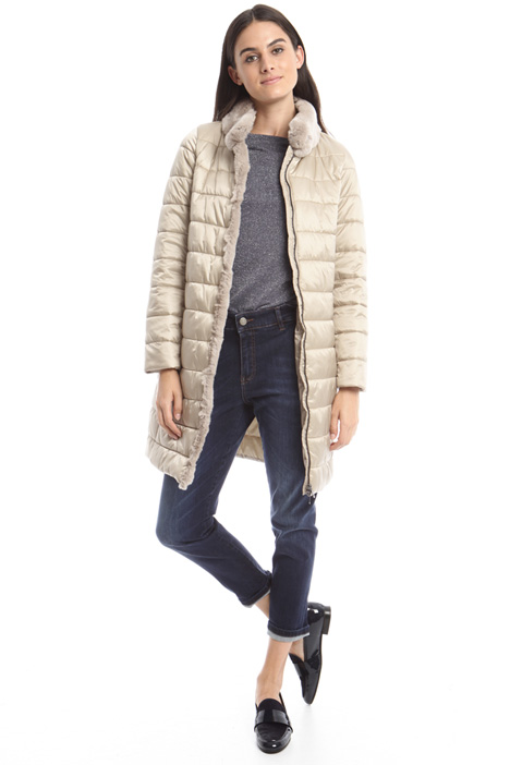 Fur-trim padded coat Diffusione Tessile