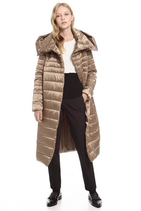 Oversized padded coat in satin Diffusione Tessile