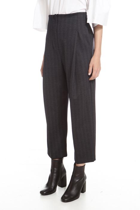 Pantaloni cropped in chevron Diffusione Tessile