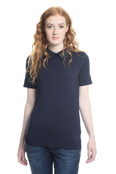 Embroidered collar T-shirt Intrend
