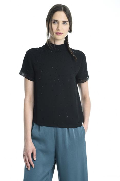 Top in georgette con strass Intrend