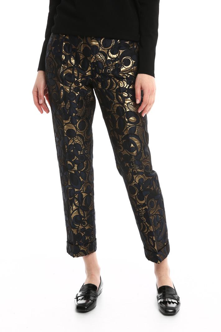 Pantaloni cropped in jacquard Diffusione Tessile