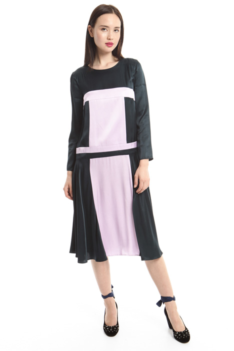 Satin color-block dress Intrend