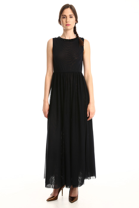Long tulle jersey dress Intrend