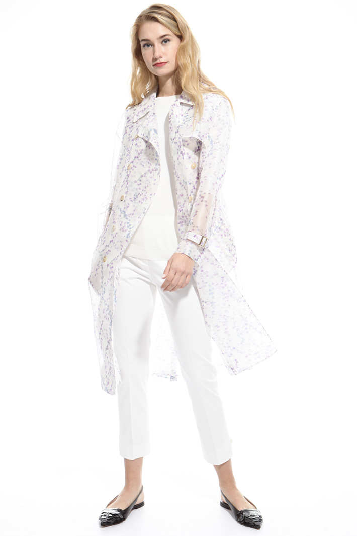 Printed organza trench Intrend