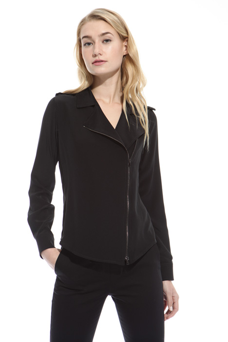 Silk shirt with zip Diffusione Tessile