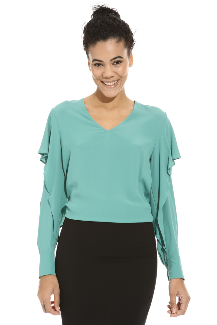 Flounced crepe blouse Intrend