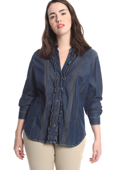 Ruffled denim shirt Diffusione Tessile