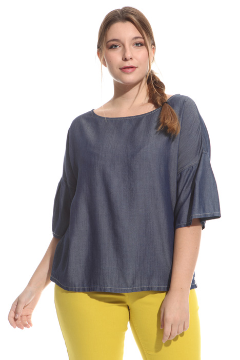 Boxy denim-effect tunic Intrend