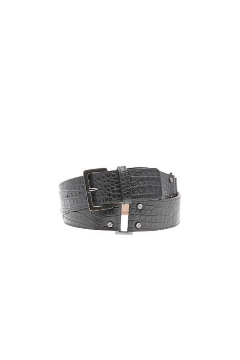 Crocodile print leather belt Intrend