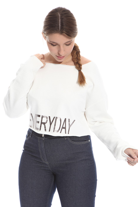 Cropped cotton sweatshirt Intrend